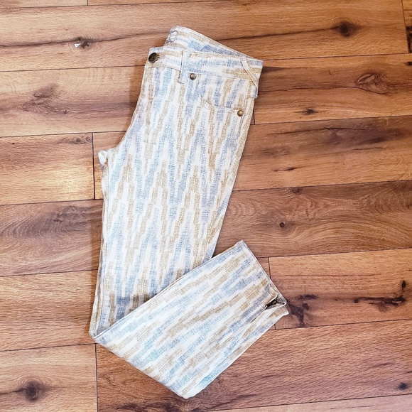 Free People Denim - Free people size 28 pant pattern pants ankle zippe